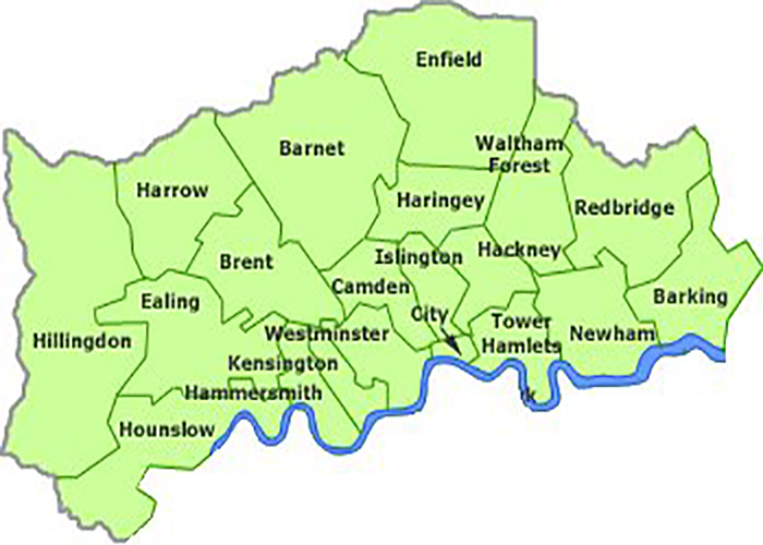 Waste Disposal Skip Hire Enfield Edmonton Barnet Walthamstow - Map of north london areas